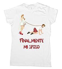 Idea Regalo - Centro Stampa Brianza T-shirt addio al celibato - finalmente mi sposo Fumetto - Celibato - Nubilato - Magliette per addio al nubilato - Guinzaglio