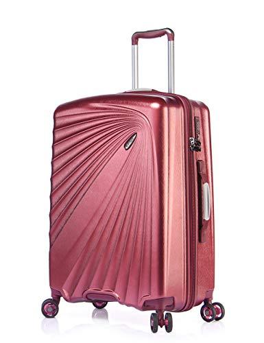 Verage Kinetic Leichter Hartschalen-Koffer (M-66cm-84 Liter, Metallic Burgund), TSA integriert, 4 Rollen ABS/PC Trolley mit Sicherheits-Reißverschluss