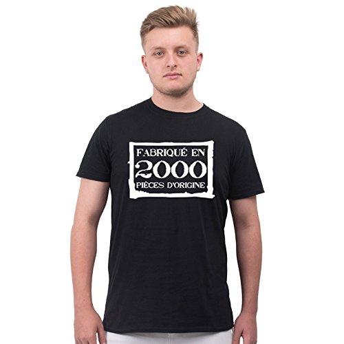 T-Shirt Anniversaire Homme 18 Ans Fabriqué En 1999 Pièces d'Origine M Noir