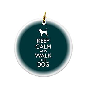 Rikki Knight Keep Calm and Walk The Dog Green Color Design Round Porcelain Two-Sided Christmas Ornaments