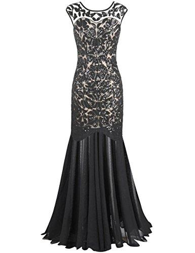PrettyGuide Damen 1920s Schwarz Pailletten Gatsby Bodenlangen Abendkleid XXL Schwarz beige
