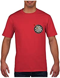 Darts Pocket Logo T Shirt - Funny Bullseye 180 T-Shirt Pub Game Board Mens and Boys T Shirt