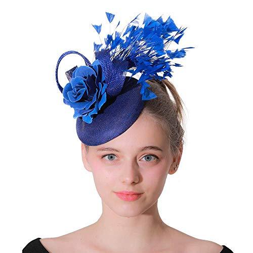 Frauen-Mädchen-Haarnadel-Hut Eleganter Fascinator-Hut der Frauen Feder-Blumen-Hochzeits-Haarnadel-Kopfschmuck Royal Ascot Cocktail-Tee-Party Cocktail-Tee-Party-Kopfbedeckungen für Frauen