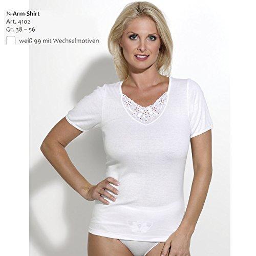 Ott-tricot Damen 1/4 Arm Shirt in Weiß 100% BW mit Wechselmotiv Gr.38 bis Gr.56 Unterwäsche Weiß