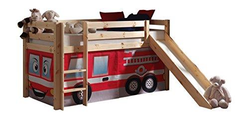"""VIPACK PICOHSGB1070 Spielbett Pino mit Rutsche und Textilset """"Feuerwehr"""", Maße 210 x 114 x 218 cm, Liegefläche 90 x 200 cm, Kiefer massiv natur lackiert"""