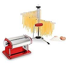 Klarstein Set Siena Rossa Macchina per Pasta + pasta dryer stendi pasta 15 bracci (3 attacchi, rullo per stendere, 15 bracci per stendipasta)