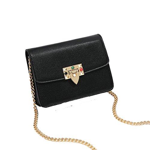 Frauen Schultertasche Mädchen Messenger Bag Kleine Quadratische Tasche Wild Kette Mode Freizeit Persönlichkeit Querschnitt Platz Black