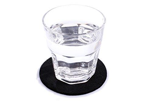 10er Set Glasuntersetzer rund aus Filz in schwarz (+ weitere Farben) Ø 10cm, Filzuntersetzer edel und elegant für Gläser, Bar und Tisch, auch als Getränkeuntersetzer geeignet