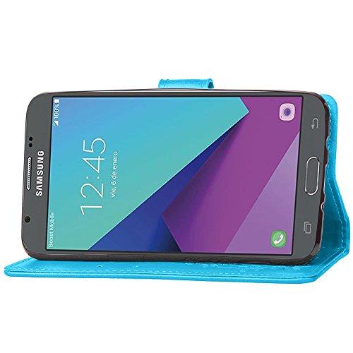 EKINHUI Case Cover Double Magnetic Back Sucktion Retro Style PU Leder Flip Stand Case mit Kickstand und Wallet Beutel Funktion für Samsung Galaxy J5 2017 ( Color : Black ) Blue