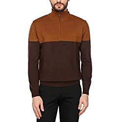 Wills Lifestyle Mens Zip Through Neck Colour Block Sweater