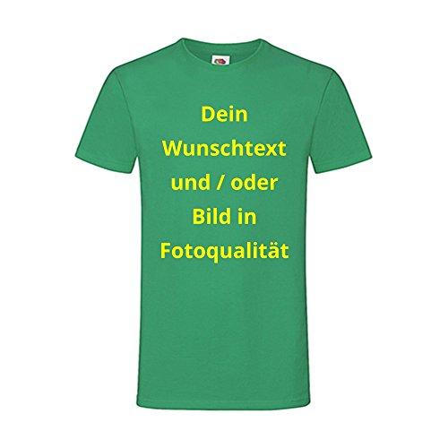 Männer T-Shirt Bedrucken - Text und Bild individuell auf Ihr T-Shirt Drucken Lassen | Personalisiert Farbe Grün, Größe M