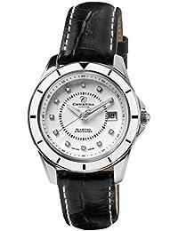 Design Christina London Energie Women's-Quarz-Uhr mit weißem Zifferblatt Analog-Anzeige und schwarzem Lederarmband 149SWBL