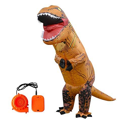 Egosy Halloween Erwachsene aufblasbare T Rex Dinosaurier-Partei-Kostüm Lustige Kleid Braun für Erwachsene größe (Lustige T Rex Kostüm)