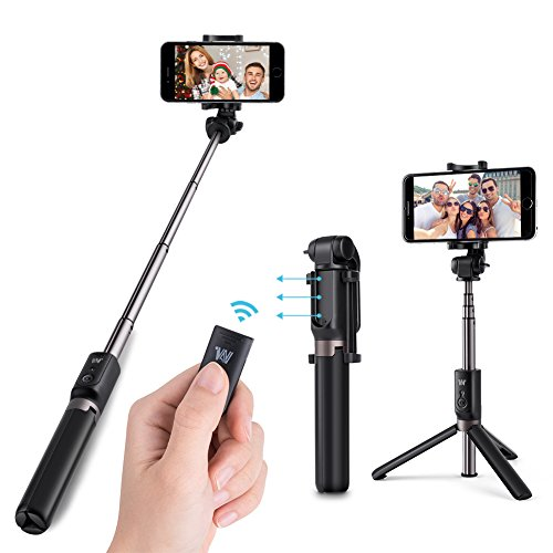 Bastone Selfie Treppiede Bluetooth, Hotchy Bluetooth Selfie Stick treppiede con otturatore remoto Dual Mini Pocket Wireless rotazione a 360 ° 3 in 1 Stick per selfie per tutti gli iPhone Samsung Galaxy s7 e Android 3.6-6 Inch Smartphone (nero)