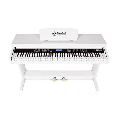 Schubert Subi88P2 • E-Piano • Keyboard • 88-Tasten • MIDI-Unterstützung • Anschlagdynamik • 138 vorinstallierte Instrumente • 118 Rhythmen • 31 Demo-Songs • 2 Pedale • LCD-Display • 3 Speicherplätze • zuschaltbares Metronom • Notenständer • weiß - 2