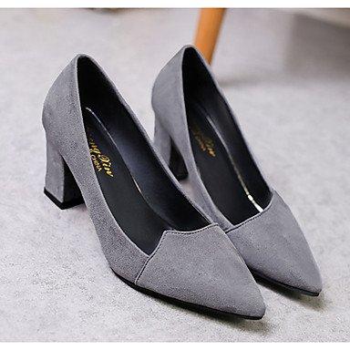 RTRY Donna Comfort Tacchi Pu Primavera Estate Abbigliamento Casual Chunky Heel Ruby Grigio Nero 1A-1 3/4In US6.5-7 / EU37 / UK4.5-5 / CN37