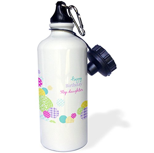 a74e7a375 3dRose wb_165134_1 Happy Birthday Step Daughter-Modern Colorful Dots  Pattern on White Sports Water Bottle
