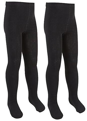 I2i Filles riche en coton uni en tricot Collants - noir - 11-12 ans
