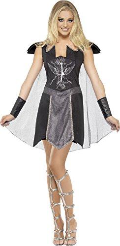 Kostüm Damen Warrior - Smiffys, Damen Dark Warrior Kostüm, Kleid mit Umhang und Manschetten, Größe: M, 45358
