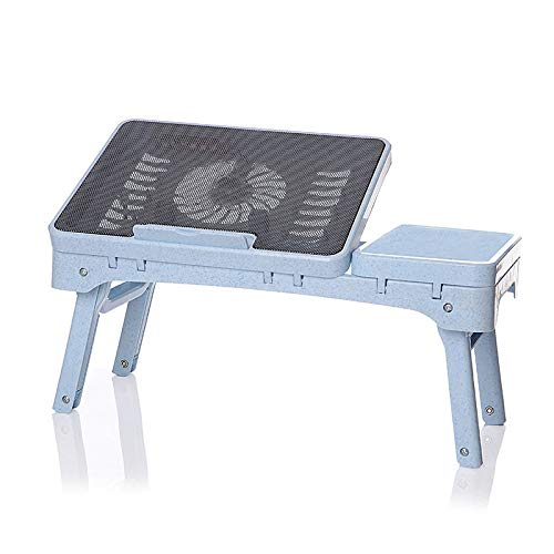 ZZWBOX Computertisch mit RadiatoFolding Computertisch mit Radiator Multifunktionales, tragbares Klappbett mit Laptop-Tisch Lazy Table -for- Desk Reading Desk Dormitory Table,Blue -