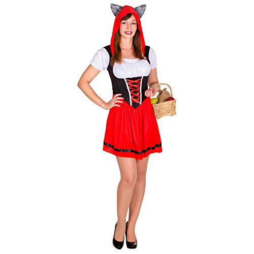 Sexy Wolfkäppchen Rotkäppchen Kostüm mit flauschigen Wolfsohren (S | Nr. 300020)