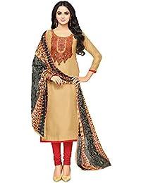 Applecreation Women's Cotton Chanderi Salwar Suits Material (Beige_Salwar Suit_21DMK626_Free Size)