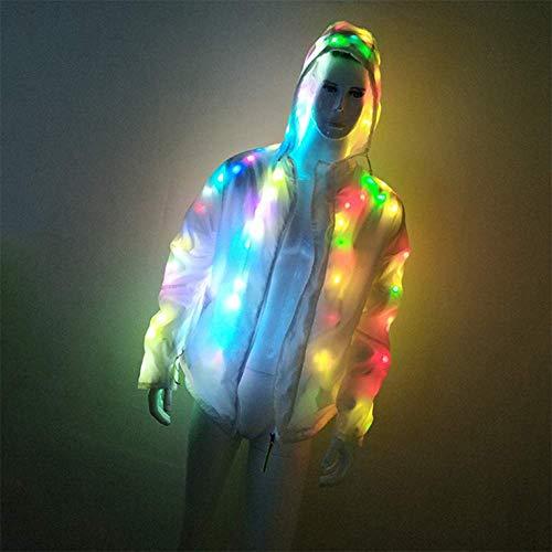 Kostüm Doppelter Regenbogen - QHWJ LED Leuchten Kleidung, Batterie Licht Hoodies Wasserdicht Doppelt Atmungsaktiv Herren Und Damen Jacken, Halloween Cosplay Party Konzert Kostüme Geburtstagsgeschenke,XXXXL
