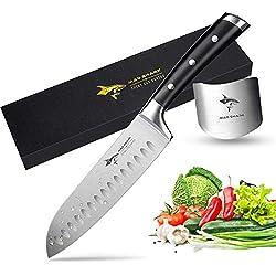 MAD SHARK Couteau Santoku, Couteau Japonaisde Cuisine Professionnel, Super Forte, Couteau de Chef Allemand de Haute Qualité en Acier Inoxydable de 7 Pouces