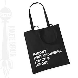 Jutebeutel Stoffbeutel ' Moony Wurmschwanz Tatze & Krone '