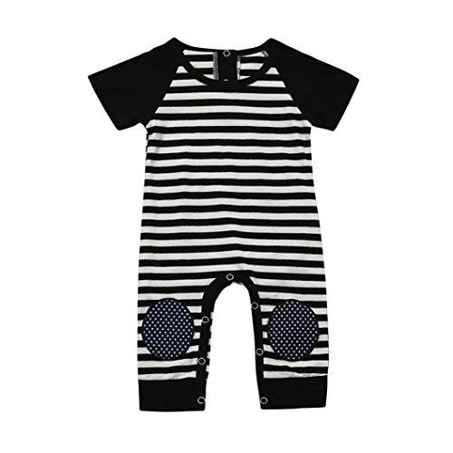 Junge Säugling Baby Junge Streifen Drucken Kurzarm Knie Schutz Spielanzug Overall Kleider Neugeborene Bodys & Einteiler Kinderhemden Shirts & Blusen (70CM, Schwarz) (Baby Mädchen Teufel Kostüm)