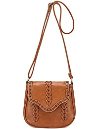 Premium Braided Laser-Cut Flap Saddle Bag - Light Brown