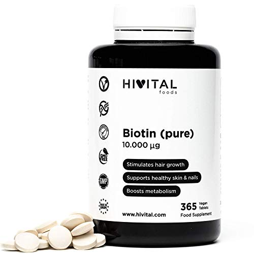 Biotina 10.000 mcg (Vitamina B7)   365 comprimidos (Suministro anual)   Estimula el crecimiento del cabello, ayuda a mantener la piel y las uñas sanas, y activa el metabolismo   Apto para Veganos.
