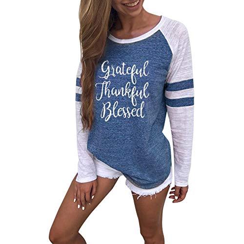 Kostüm Batman Baseball - OVERDOSE Mode Damen Frauen Rundhals Lange Hülsen Spleiß Blusen Oberseiten Kleidung T-Shirt Tops Pullover (XL, V-Blue)