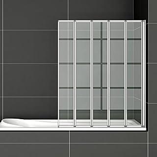 120x140cm Badewannenfaltwand 5-teilig Duschwand Duschabtrennung Badewannenaufsatz FF12