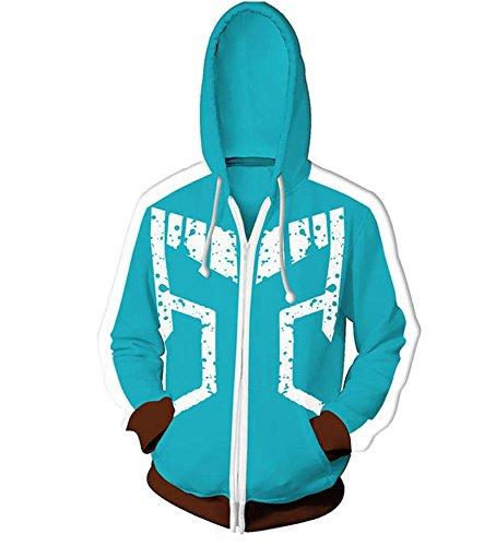 Wellgift My Hero Academia Hoodie Kapuzenpullover Cosplay Kostüm Teens Anime Reißverschluss Baumwolle Jacke Sweatshirt Kleidung Top für Männer und ()