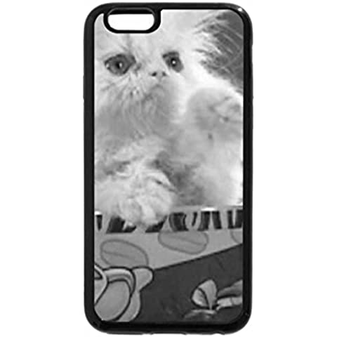 iPhone 6S Case, iPhone 6 Case (Black & White) - kitty in a teacup - Kitty Teacup