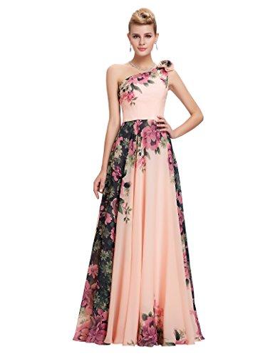 GRACE KARIN Blumen Maxikleid ohne ärmel Homecoming Kleid Damen Brautkleid Chiffon...