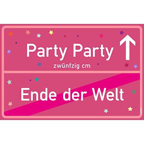 Kostüm Welt Party Ende Der - vanva Party Schild Party Party Ende der Welt Schild pink Party-Ortsschild Ortstafel Wanddeko Party süße Geburtstag Geschenk Frauen Geschenkidee Männer 30x20 cm Schild mit Sprüchen Party Sachen