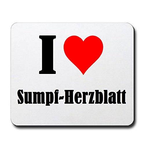 """Exklusive Geschenkidee: Mauspad """"I Love Sumpf-Herzblatt"""" in Weiss, eine tolle Geschenkidee die von Herzen kommt- Rutschfestes Mousepad- Weihnachts Geschenktipp"""