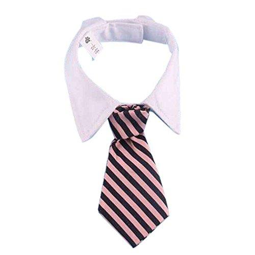 Gankmachine Corbatas para Mascotas Corbata de Cachorro de Perro de Mascota de algodón pequeño Aseo Corbata de Corbata Ajustable Franja Rosada Negra S&30cm