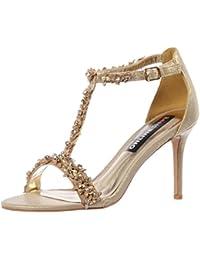 JUWOJIA Donna Sandali High-Heeled Stampa, Pu Parti Di Calzature Scarpe Tacchi Alti,Nero,6.5