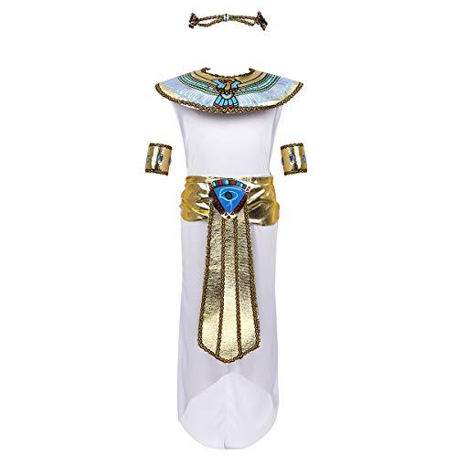 Mädchen Kostüm Schule Zubehör - dPois Mädchen Ägyptische Königin Kostüm Ärmelloses Kleid mit Zubehör Kleopatra Verkleidung Cosplay Outfits für Halloween Mottopartys Karneval Weiß 122-140/7-10Jahre