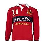 Oranguthan Camiseta Polo Rugby España Hombre Manga Larga, Rojo, 100% Algodón, 280gr, Estilo Deportivo, Original (M)