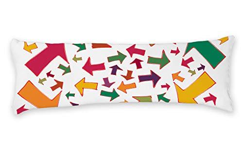 AILOVYO niedlicher, farbenfroher Pfeil-Schild, weicher Körper-Kissenbezug, Langer, seidig glänzender Satin, 51 x 137 cm