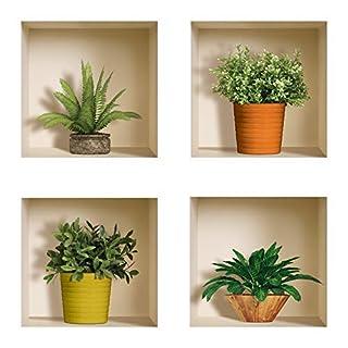 The Nisha Art Magic 3D Vinyl Removable Wall Sticker Decals DIY, Set of 4, Green Plants 412-UK