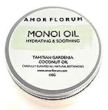 HUILE MONOI avec HUILE DE COCO & GARDÉNIA du TAHITI - 100 g - d'AMOR FLORUM - Hydrate peau et cheveux. Renforce les ongles fragiles et les cuticules.