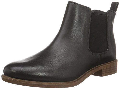 Clarks Damen Taylor Shine Chelsea Boots, Schwarz (Black Leather), 41 EU (Block-ferse, Bein-boot)
