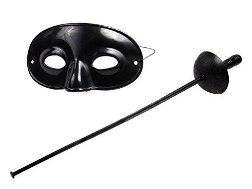 und Maske 59/1993 von Alsino (Fechten Kostüm Schwarz)
