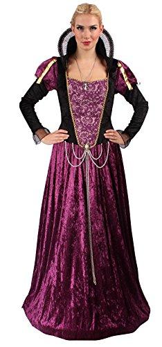Elegantes Gräfin Kostüm Set in Lila-Schwarz | Größe: 44 / 46 | Mittelalter Kostüm für Karneval & Fasching | Damen-Kostüm & Halloween-Verkleidung mit feinen Details in Samt-Optik | Für Motto-Partys (Disney Feen Halloween Kostüme)