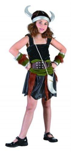 Kinder Mädchen Viking Kostüm für Nordic Schwedische Gallier Fancy Kleid Höhe: 120–130cm Medium